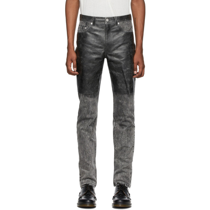 Photo: Johnlawrencesullivan Grey and Black Cracked Leather Jeans