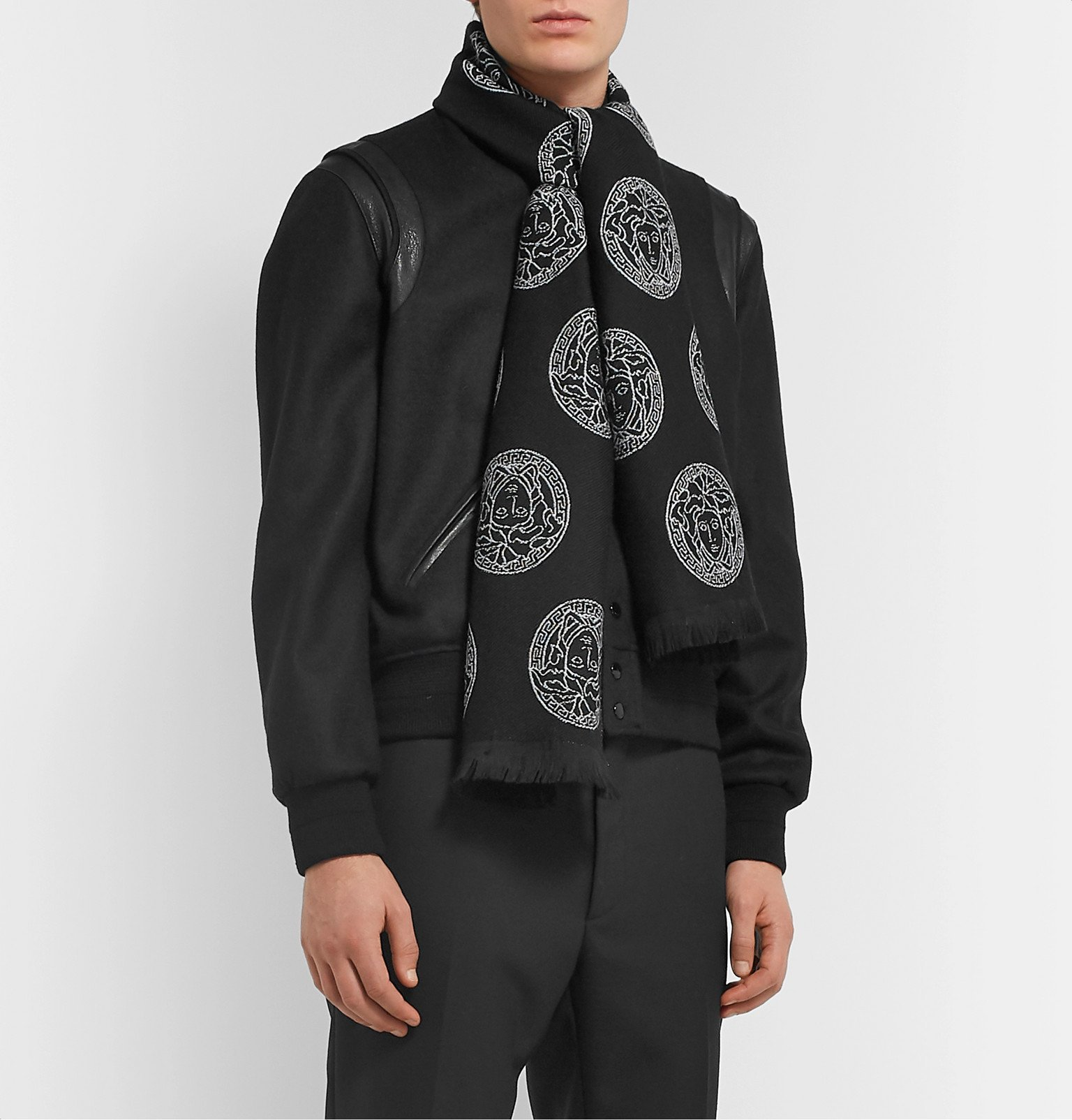 Versace - Logo-Embroidered Wool Scarf - Black