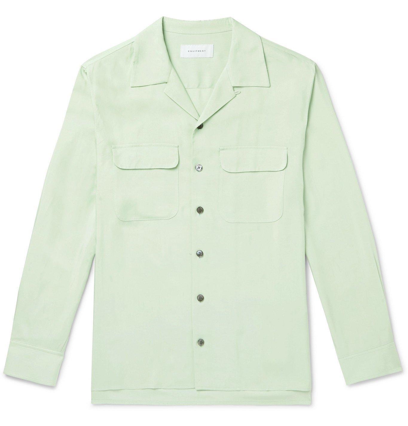 Photo: EQUIPMENT - The Original Camp-Collar Twill Shirt - Green