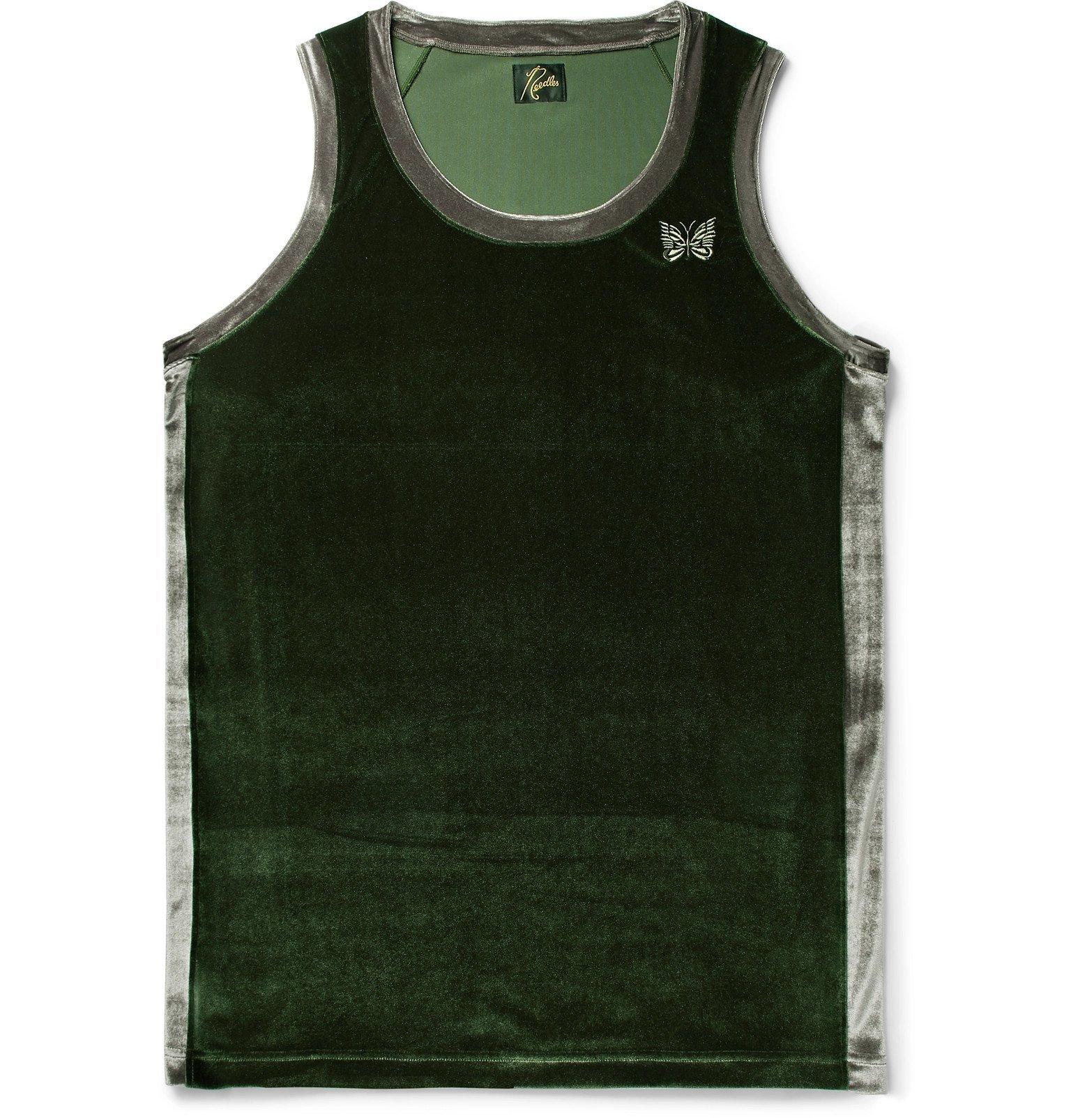 Photo: Needles - Logo-Embroidered Two-Tone Velour Tank Top - Green