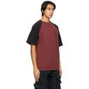 Raf Simons Burgundy and Black Virginia Creeper Edition Raglan T-Shirt