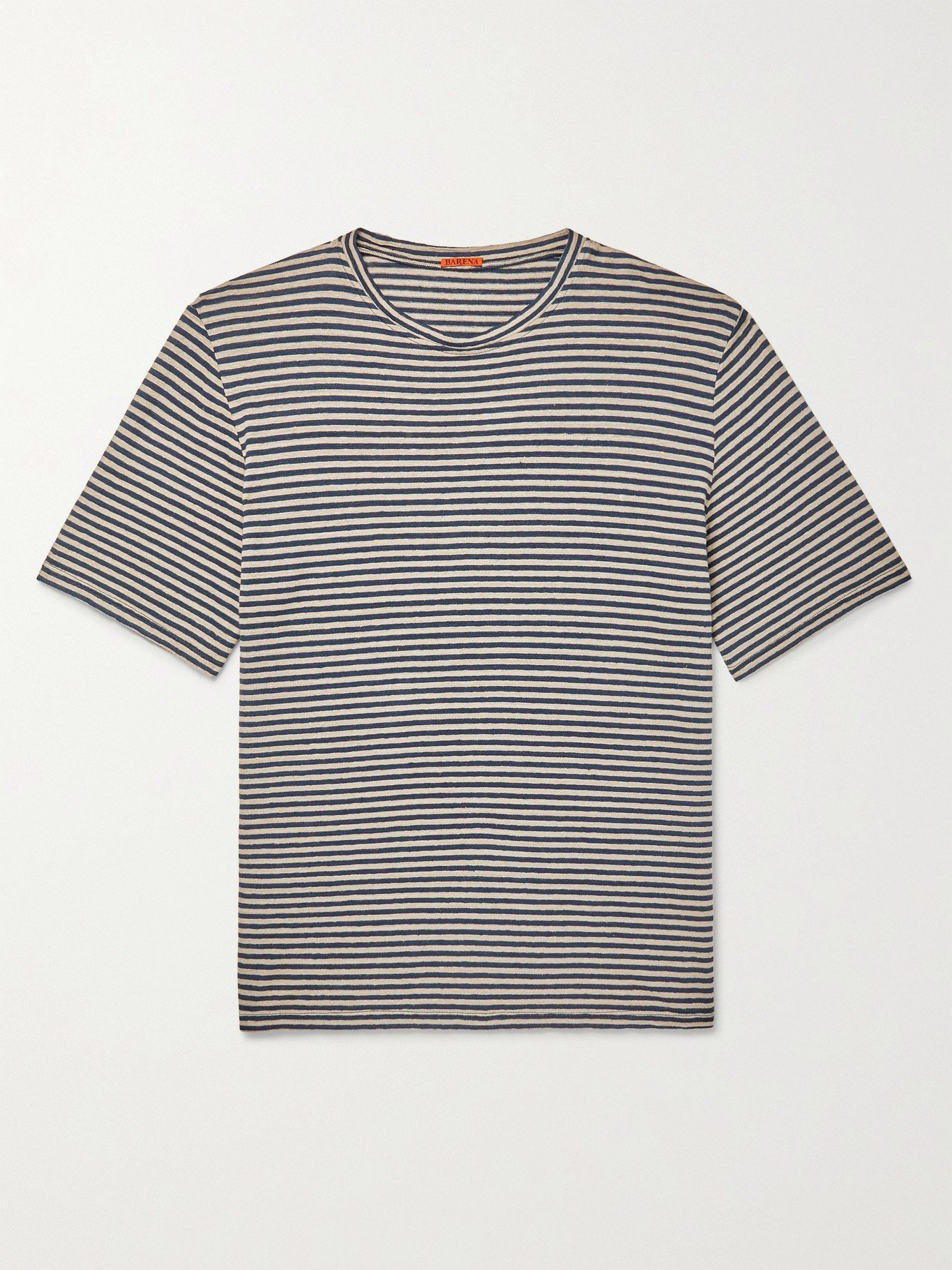 Photo: BARENA - Striped Linen T-Shirt - Blue