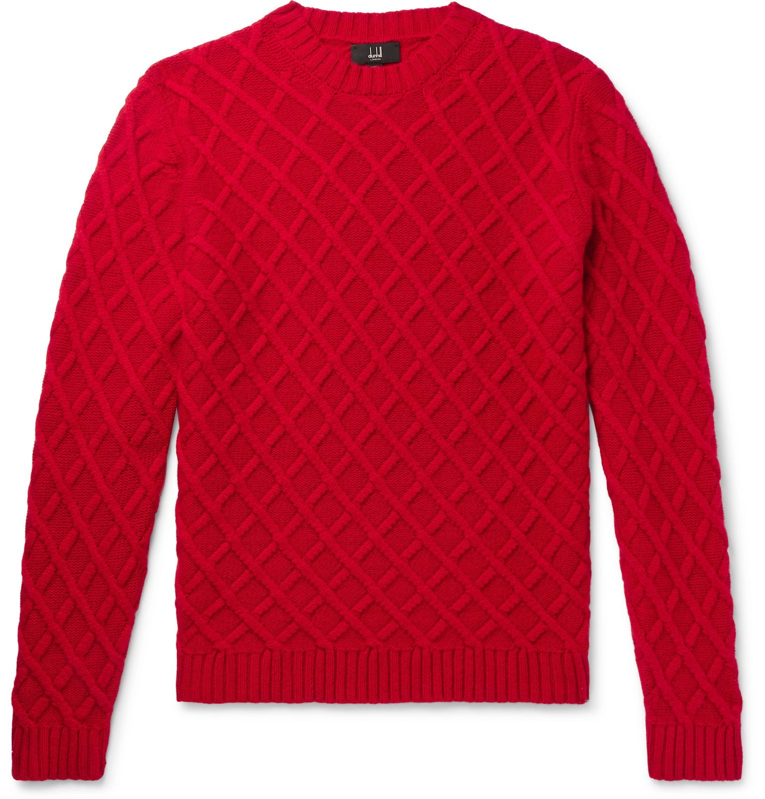 Dunhill - Slim-Fit Cable-Knit Cashmere Sweater - Red