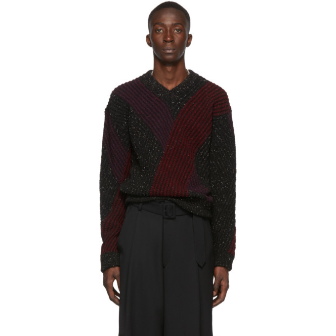 Photo: Lemaire Multicolor Jacquard V-Neck Sweater