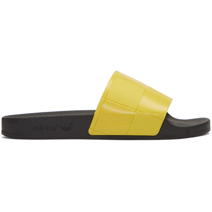 Photo: Raf Simons Yellow adidas Edition Checkerboard Adilette Slides