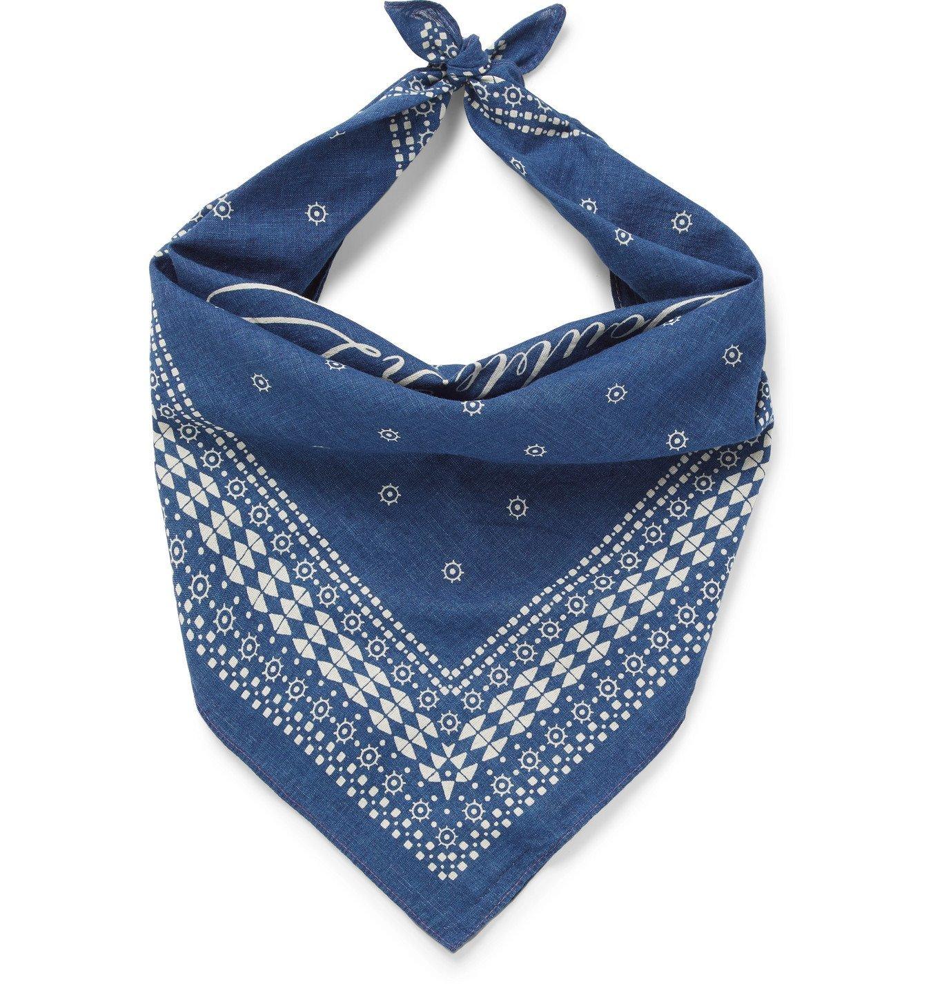 Photo: RRL - Benson Printed Cotton-Voile Bandana - Blue