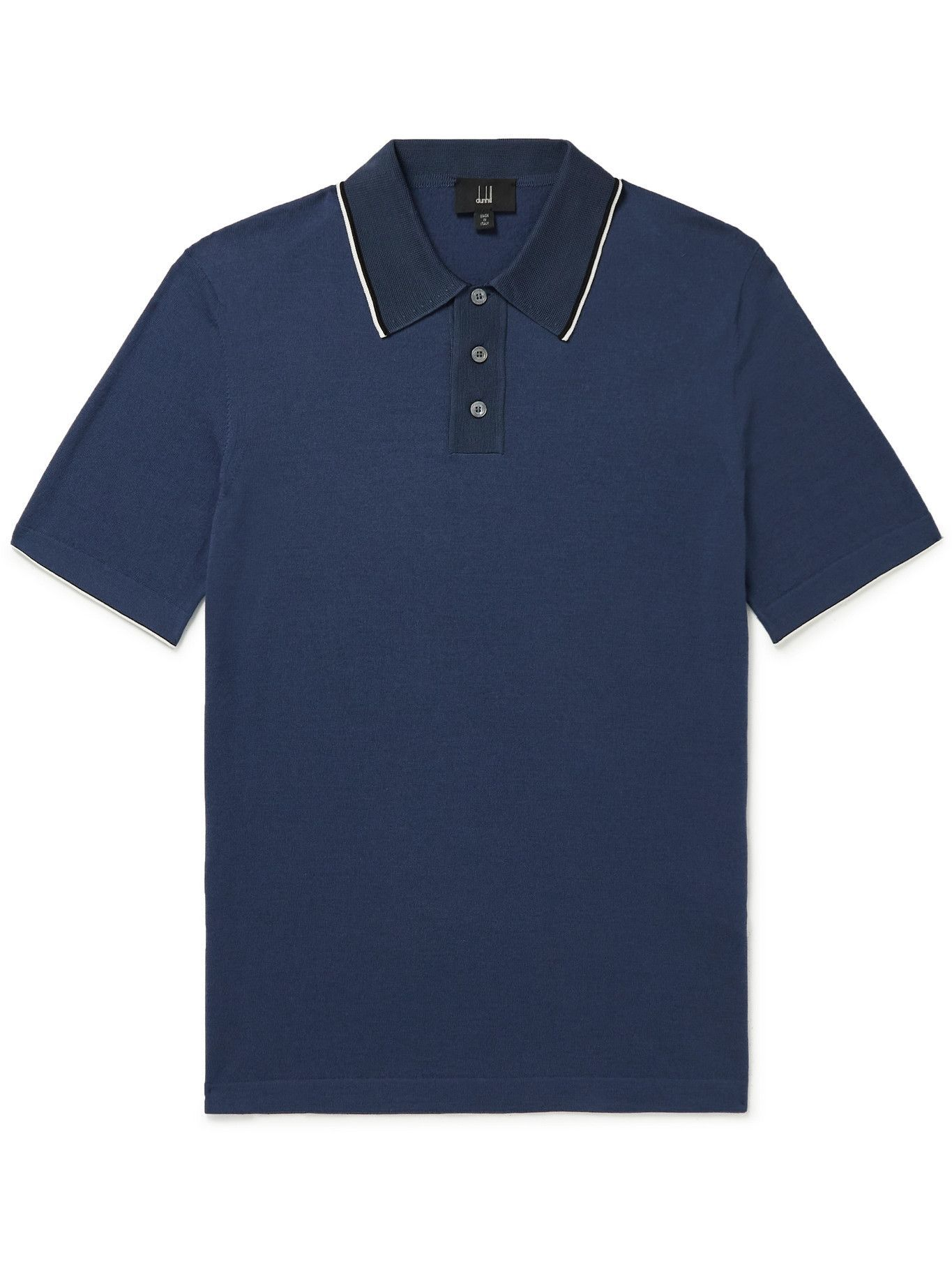 DUNHILL - Mulberry Silk-Trimmed Cotton Polo Shirt - Blue