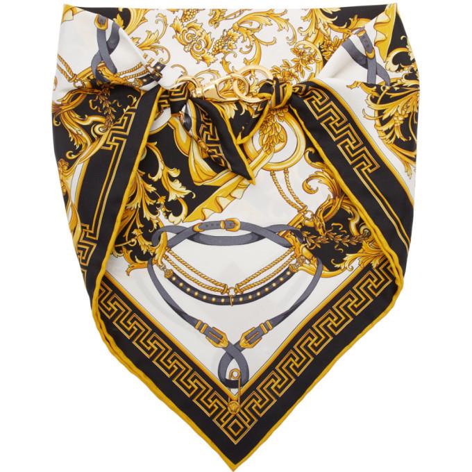 Photo: Versace Black Silk Barocco Bandana Scarf