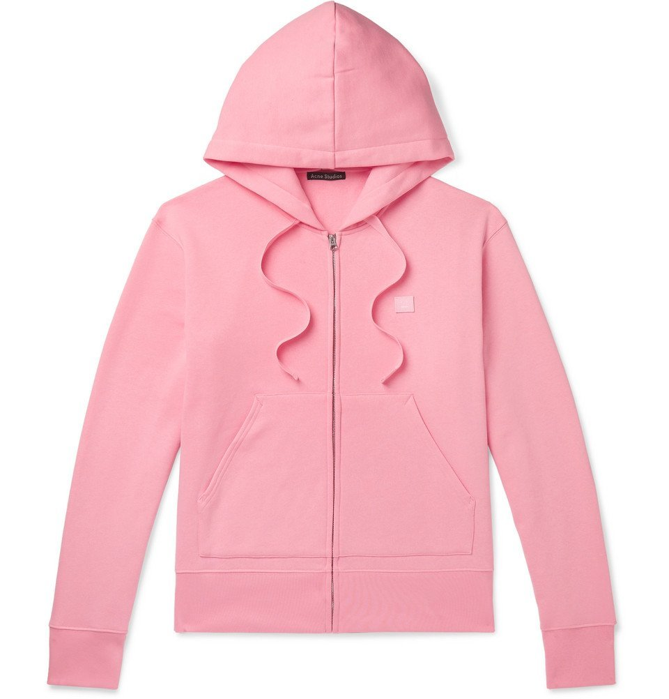 Photo: Acne Studios - Ferris Logo-Appliquéd Fleece-Back Cotton-Jersey Hoodie - Pink