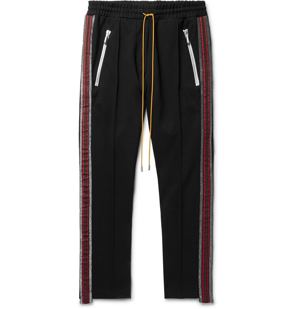 Photo: Rhude - Black Traxedo Slim-Fit Tapered Webbing-Trimmed Satin-Jersey Drawstring Trousers - Black