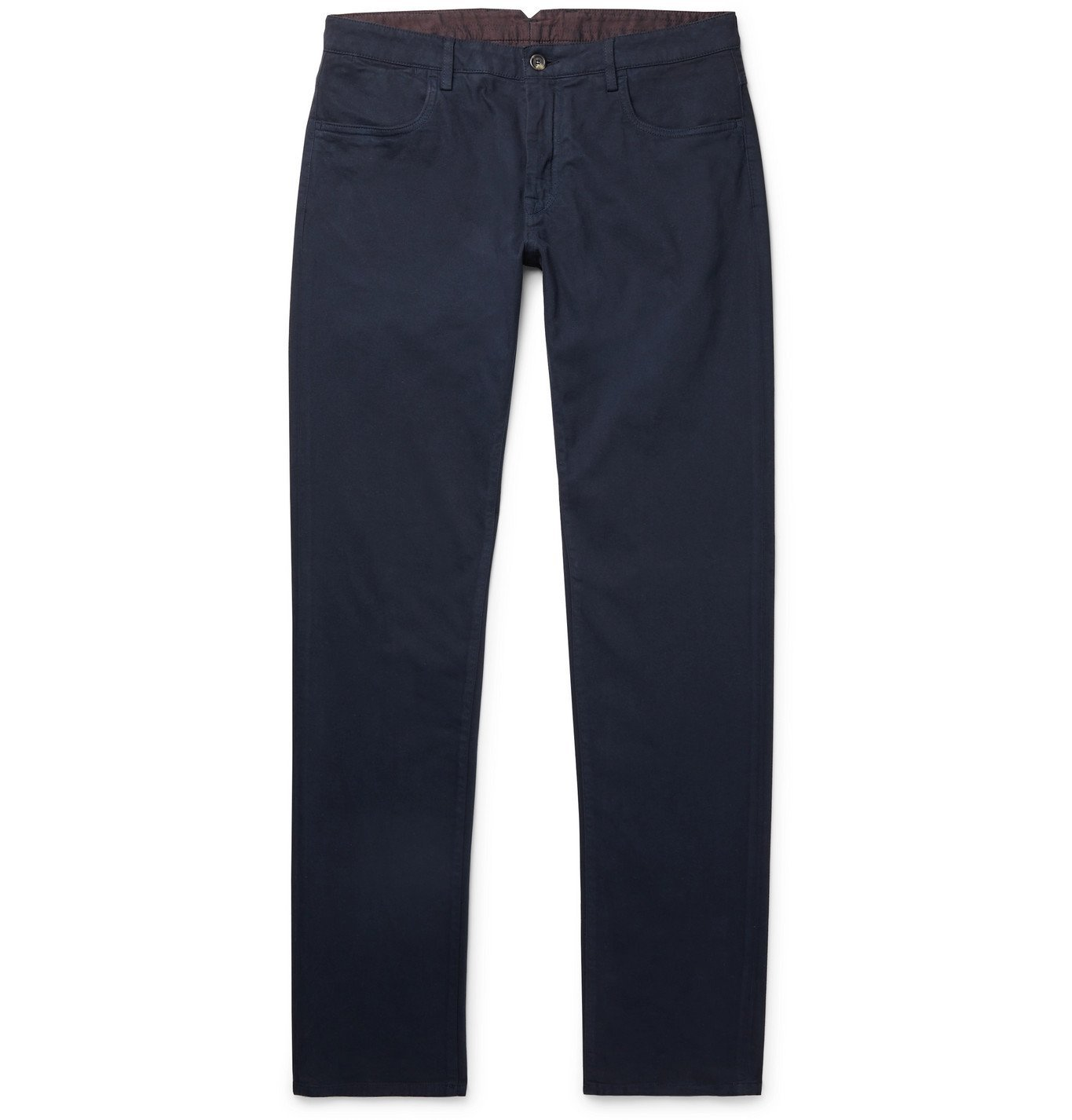 Photo: Canali - Stretch Cotton and Cashmere-Blend Chinos - Blue
