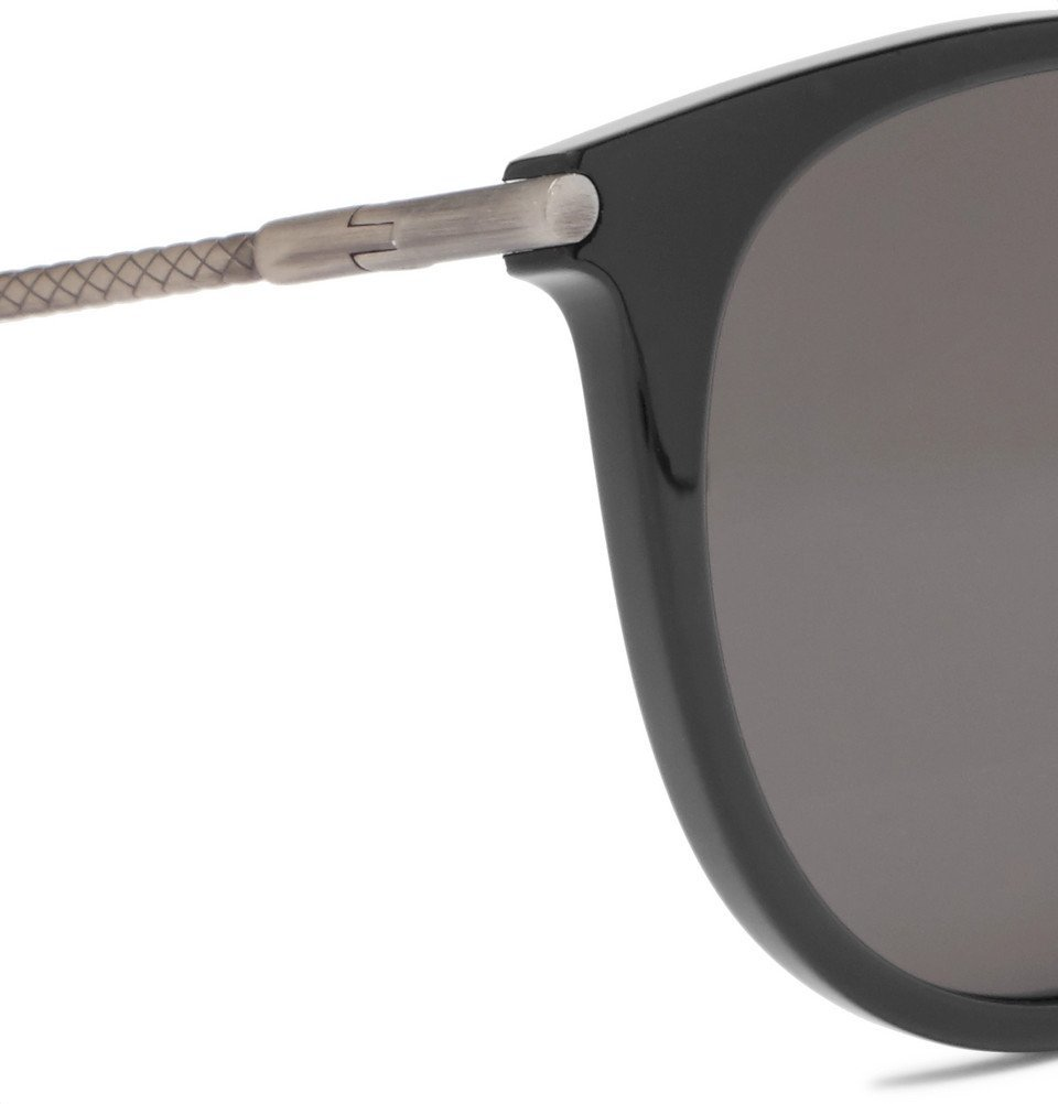Bottega Veneta - Round-Frame Acetate and Gunmetal-Tone Sunglasses - Men - Black