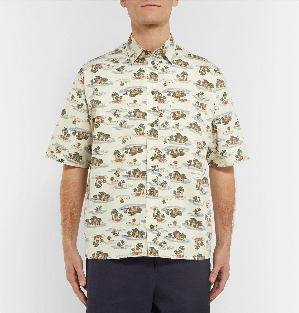 Bottega Veneta - Printed Cotton-Poplin Shirt - Cream