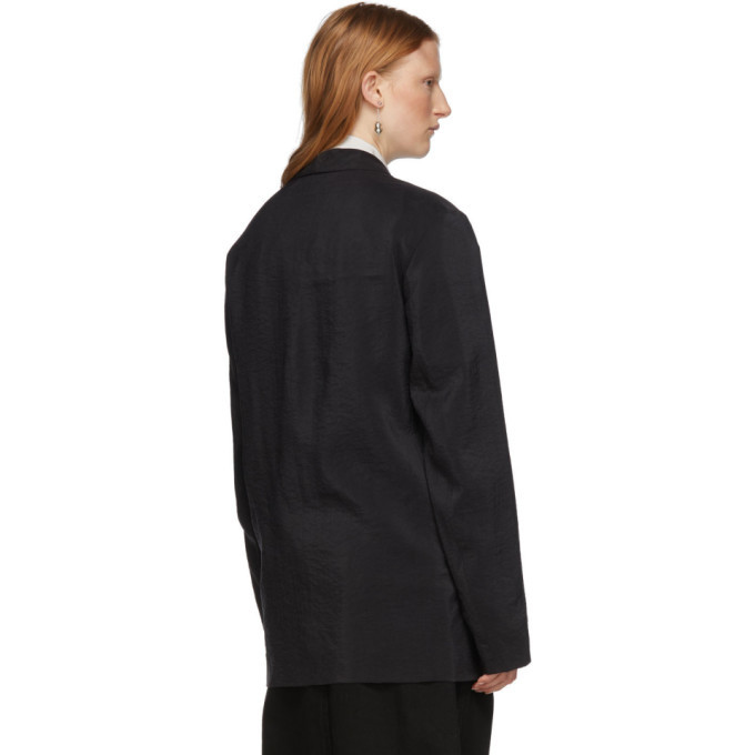 Lemaire Black Silk Double-Breasted Blazer