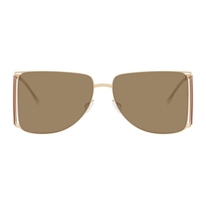 Photo: Helmut Lang Gold and Yellow Mykita Edition HL002 Sunglasses