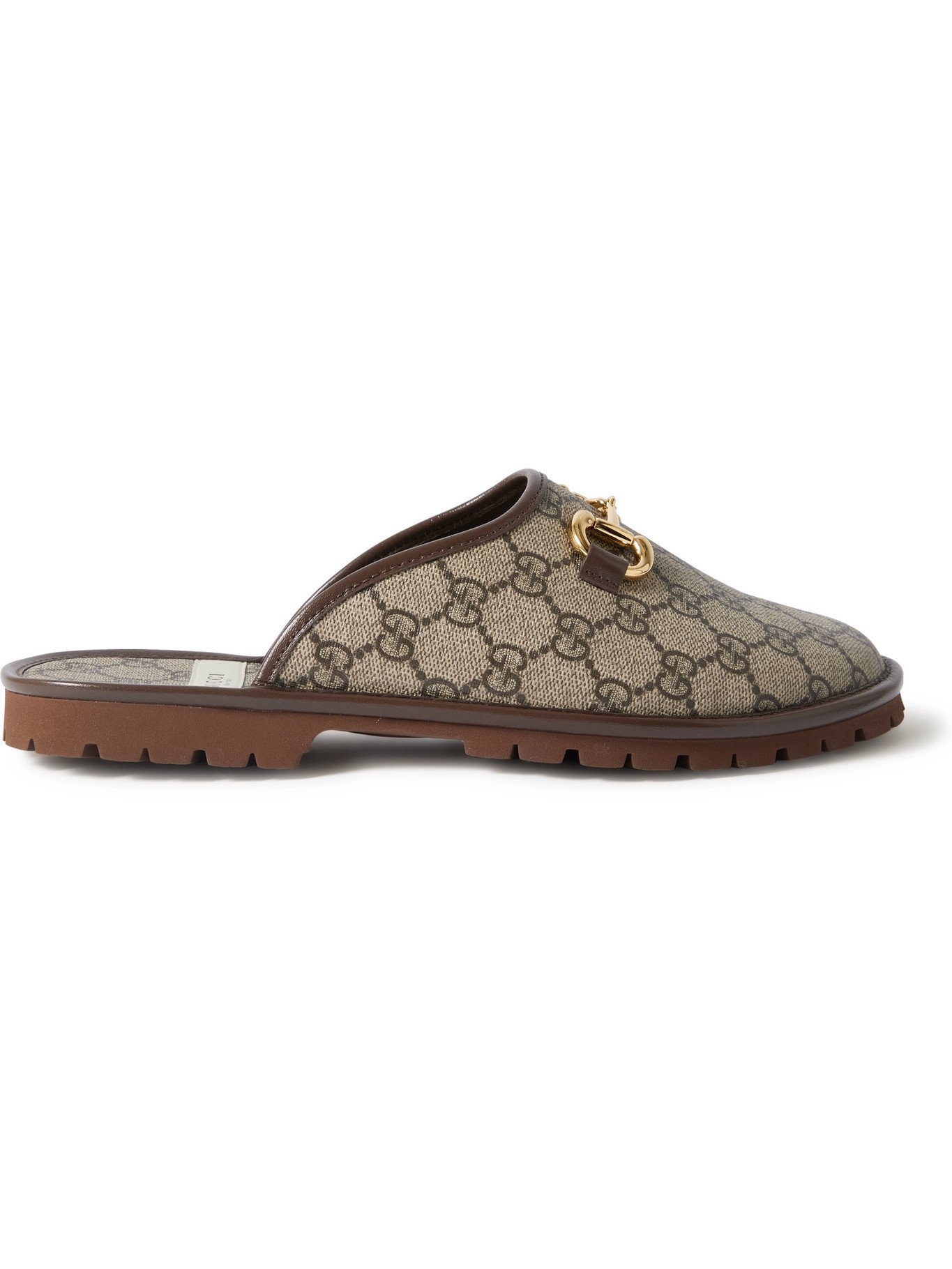 Photo: GUCCI - Elea Horsebit Monogrammed Canvas Backless Loafers - Brown
