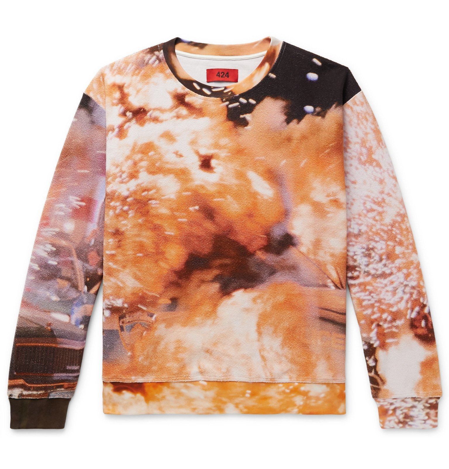 Photo: 424 - Explosion Printed Cotton-Terry Sweatshirt - Orange