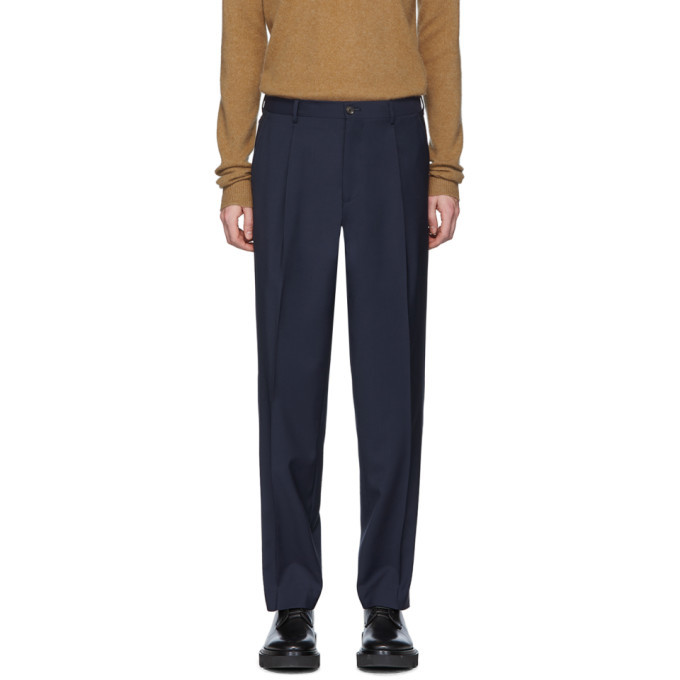 Photo: Etro Navy Wool Tailored Trousers