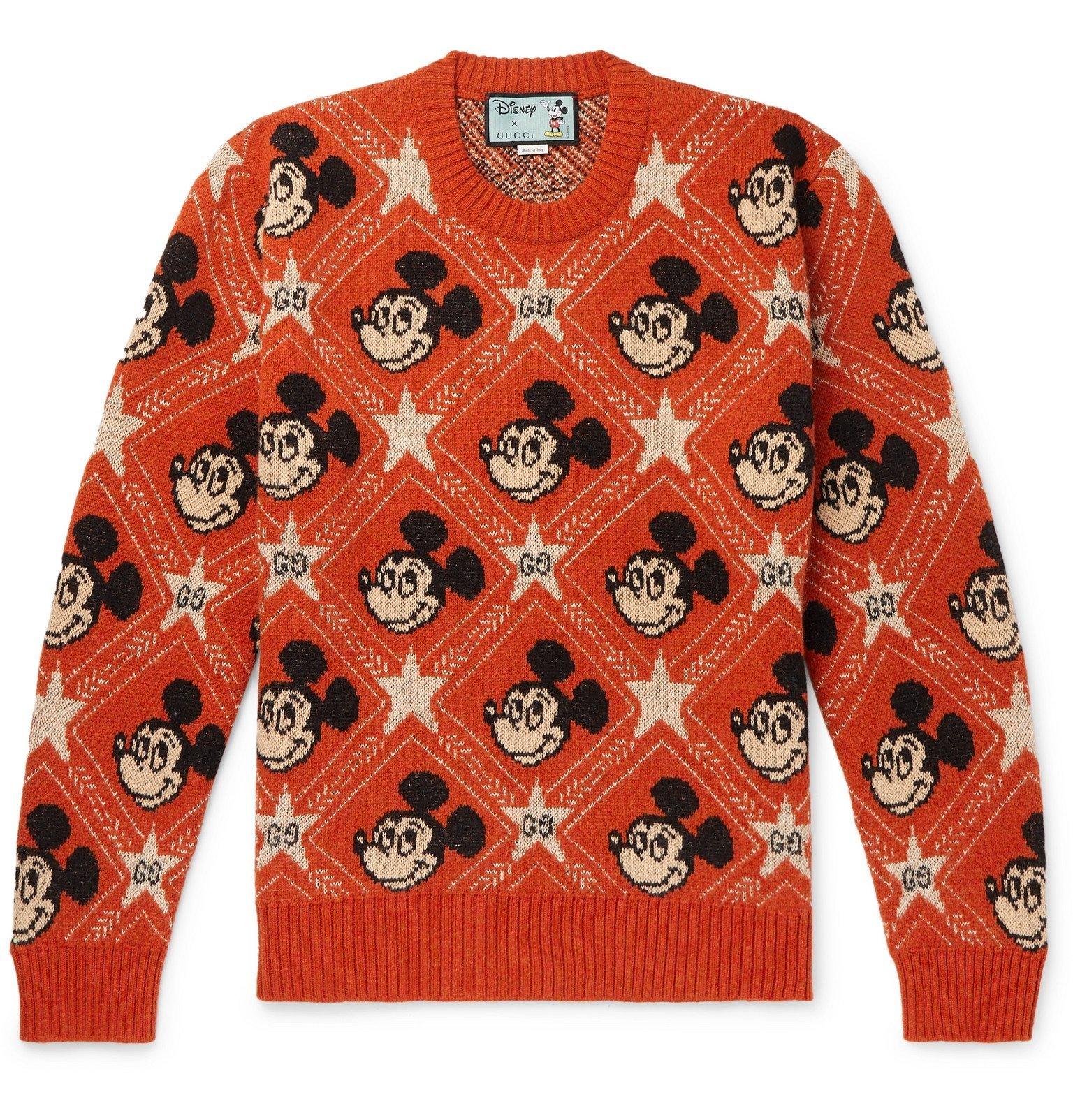 Photo: Gucci - Disney Intarsia Wool and Alpaca-Blend Sweater - Orange