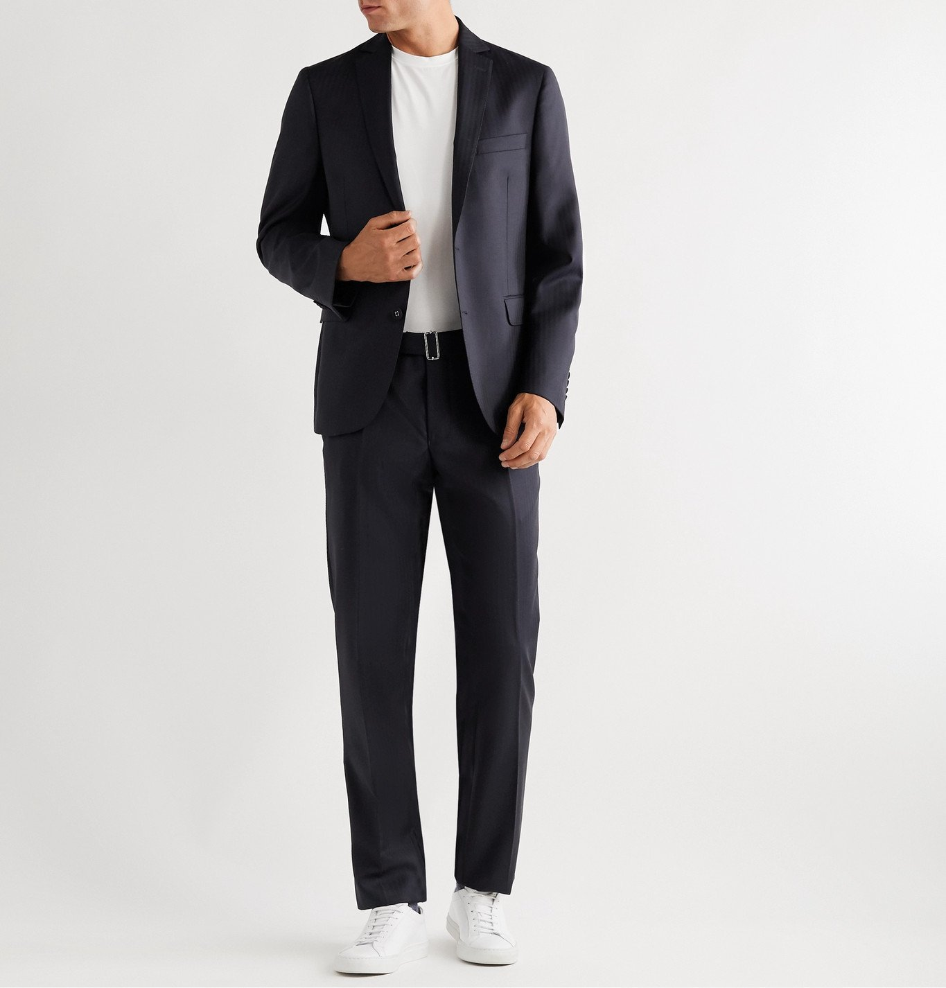 Officine Generale - Slim-Fit Herringbone Wool Suit Jacket - Blue