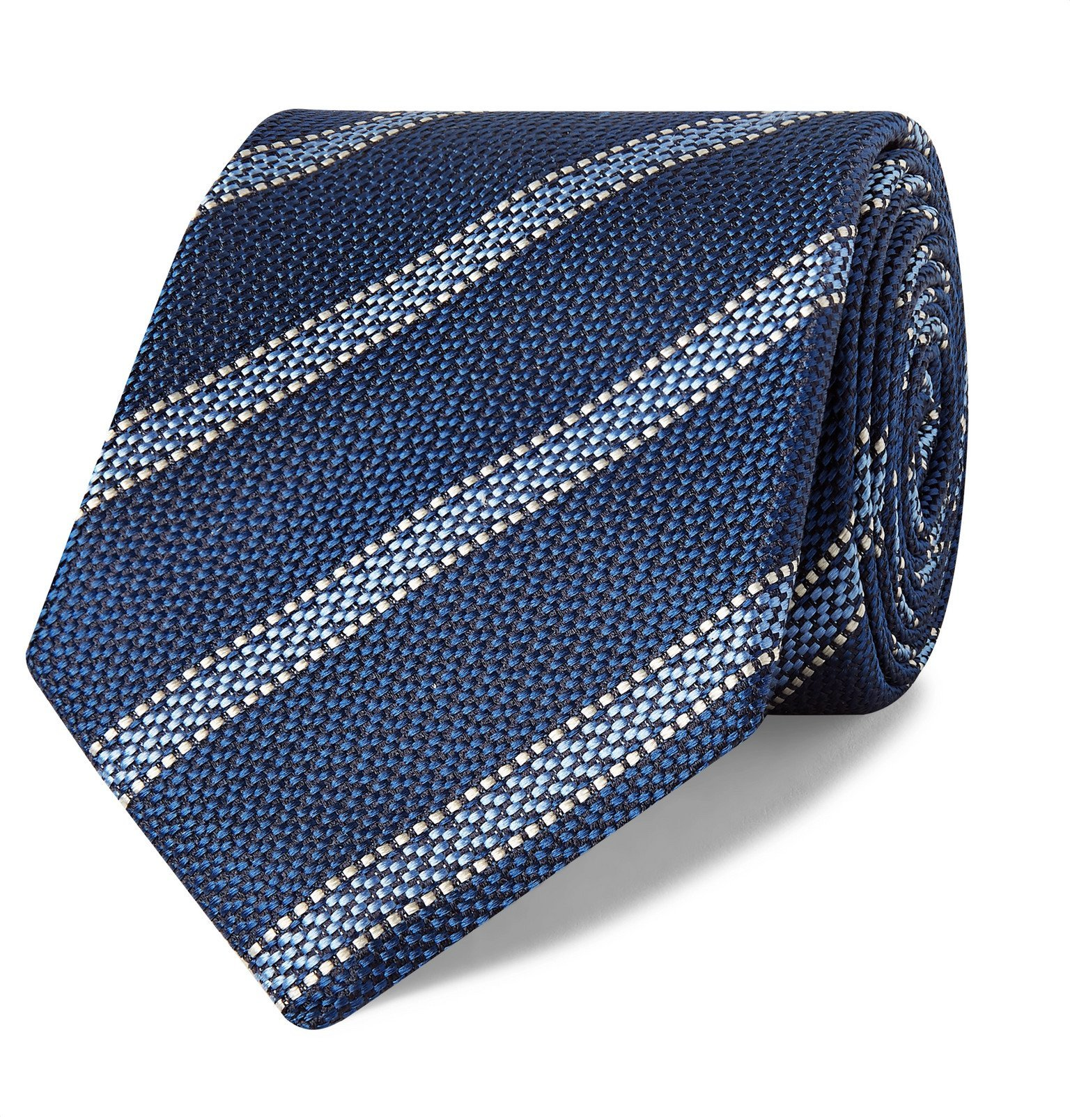 Photo: Canali - 8cm Striped Silk-Jacquard Tie - Blue