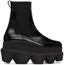 Sacai Black Polished Leather Platform Chelsea Boots