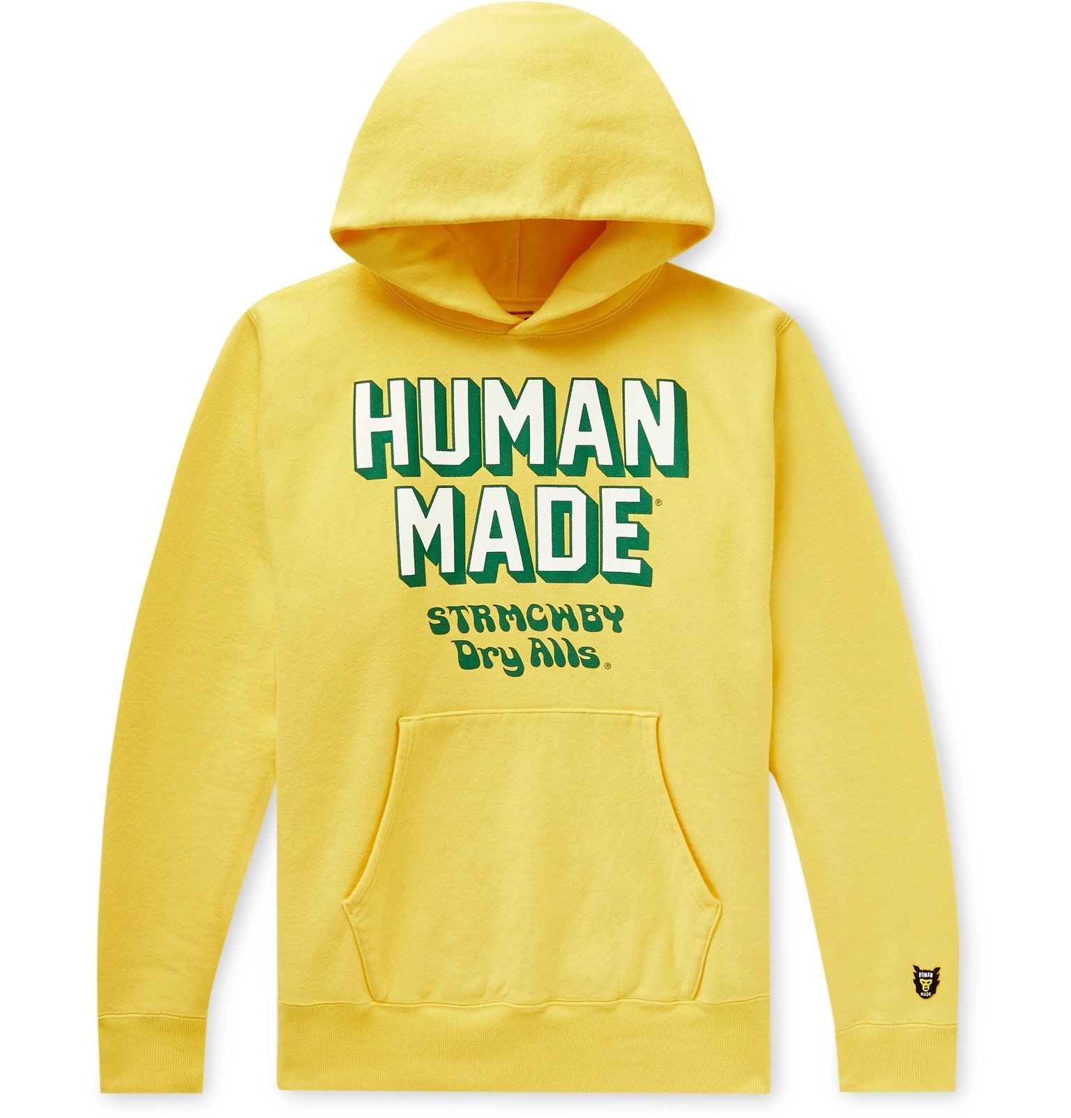 Photo: Human Made - Logo-Print Fleece-Back Cotton-Jersey Hoodie - Yellow