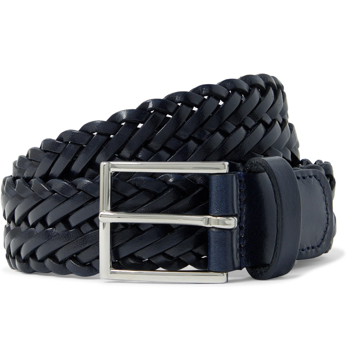 Photo: Anderson's - 3cm Woven Leather Belt - Blue