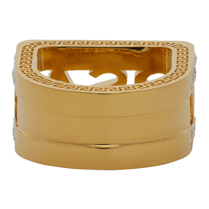 Versace Gold Crystal Cut-out Logo Ring