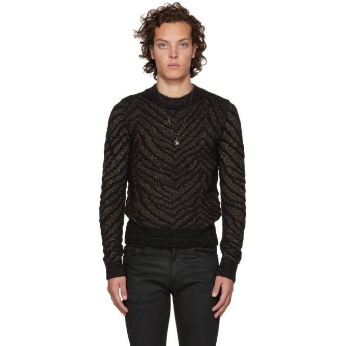 Photo: Saint Laurent Black and Gold Lurex Zebra Sweater