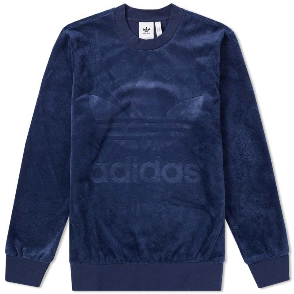 Adidas Velour Crew Sweat Blue