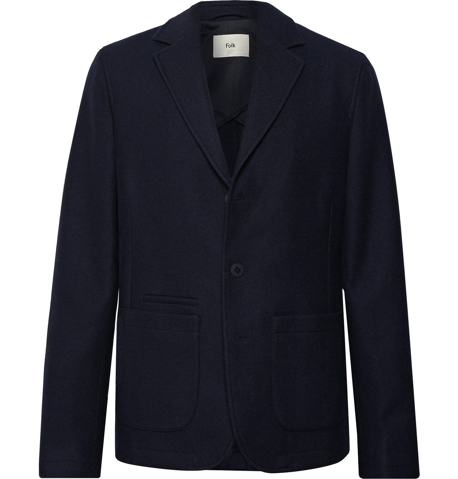 Photo: Folk - Midnight-Blue Unstructured Re.VerSo Wool-Blend Blazer - Blue