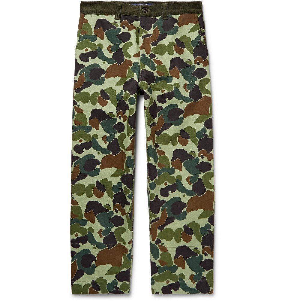 Photo: Junya Watanabe - Cropped Corduroy-Trimmed Camouflage-Print Cotton-Twill Trousers - Green