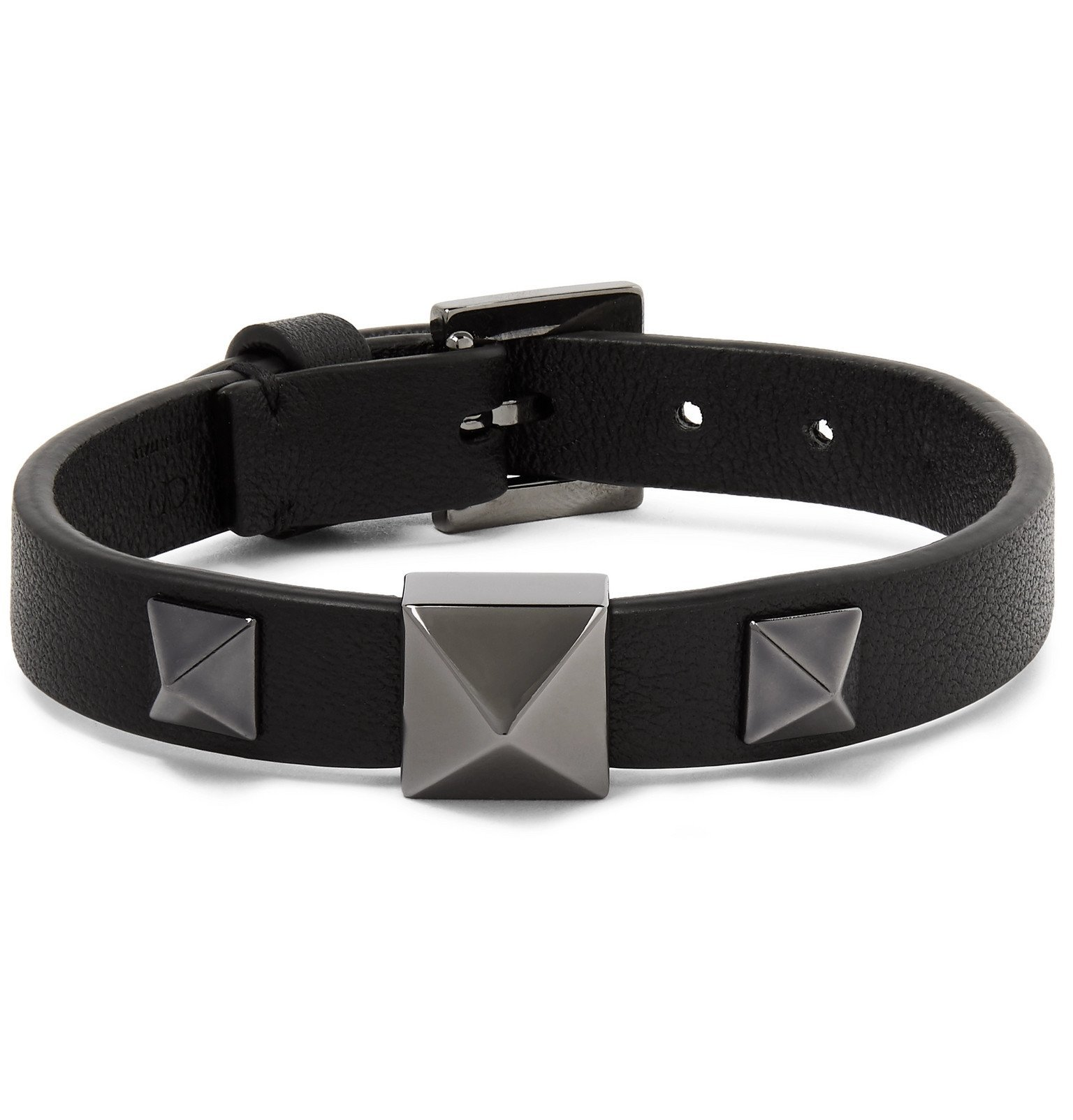 Photo: Valentino - Valentino Garavani Rockstud Full-Grain Leather Bracelet - Black