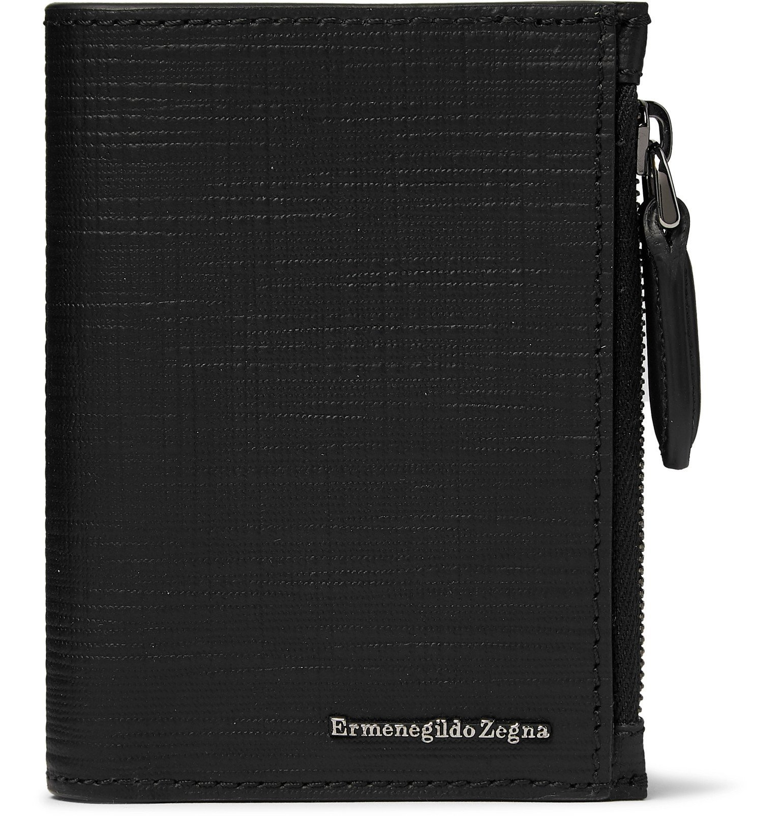 Photo: Ermenegildo Zegna - Textured-Leather Trifold Wallet - Black