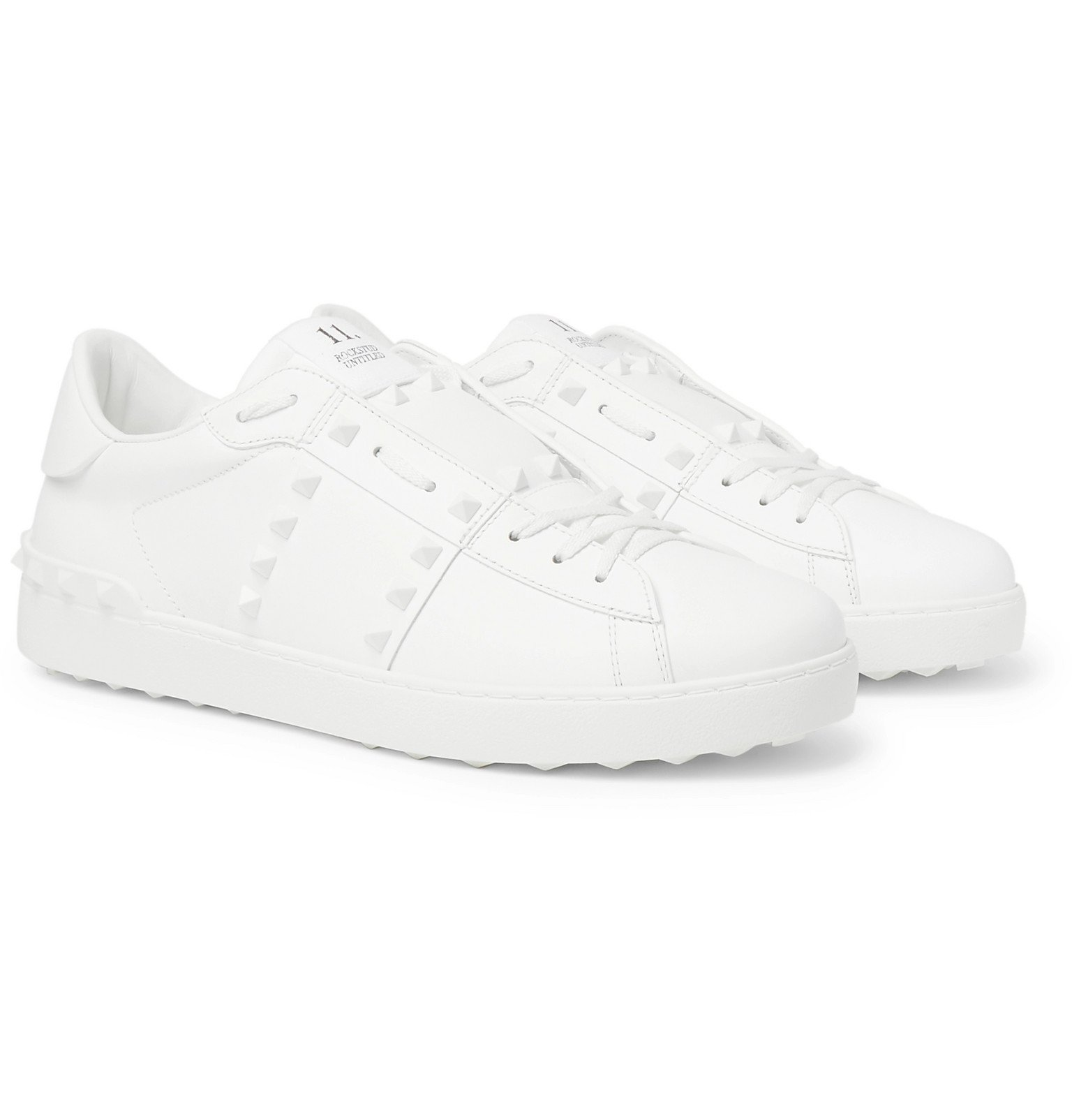 Photo: Valentino - Valentino Garavani Open Rockstud Leather Sneakers - White