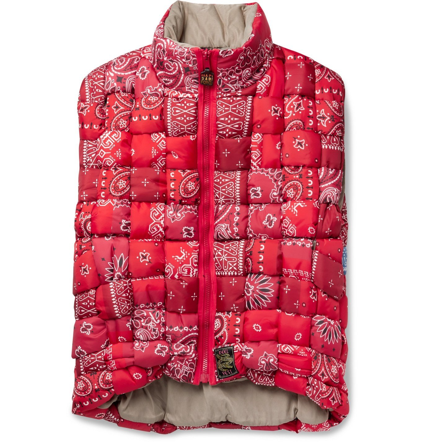 Photo: KAPITAL - Bandana-Print Woven Padded Shell Gilet - Red