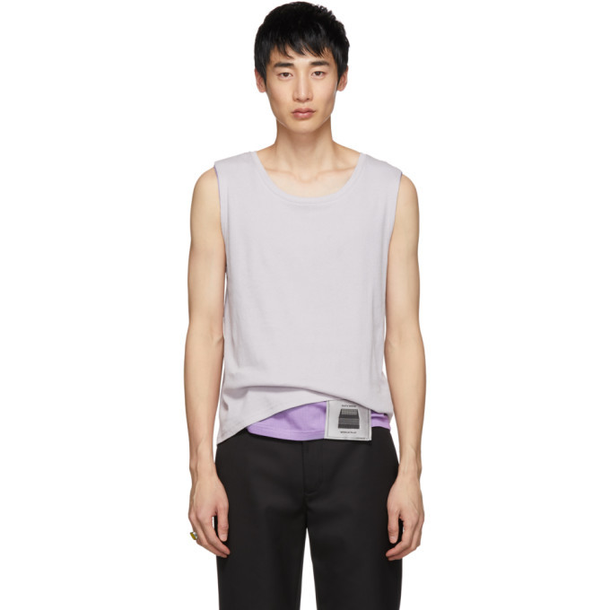 Photo: Keenkee Off-White and Purple Layered Tank Top
