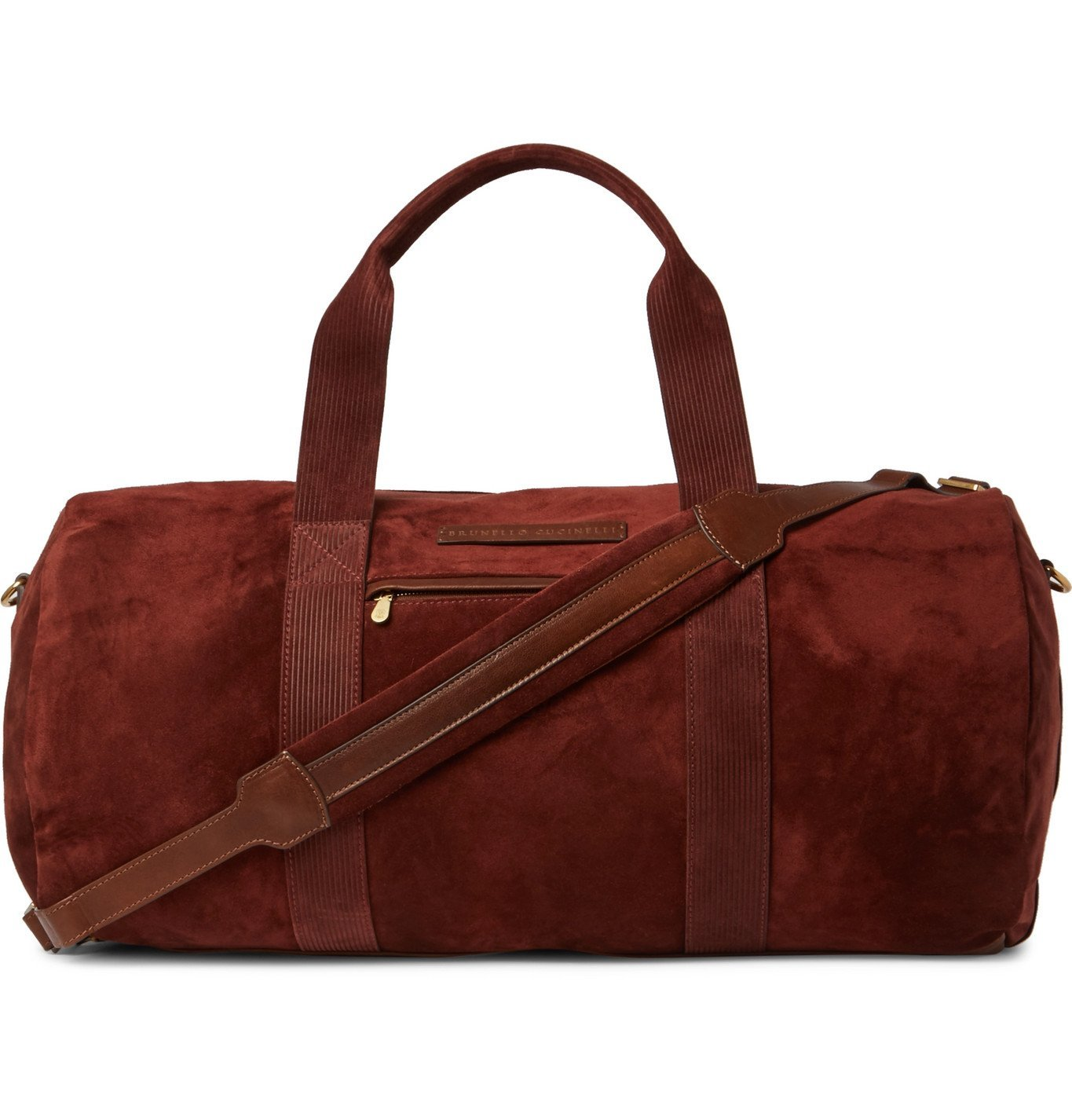 Photo: Brunello Cucinelli - Leather-Trimmed Suede Holdall - Burgundy