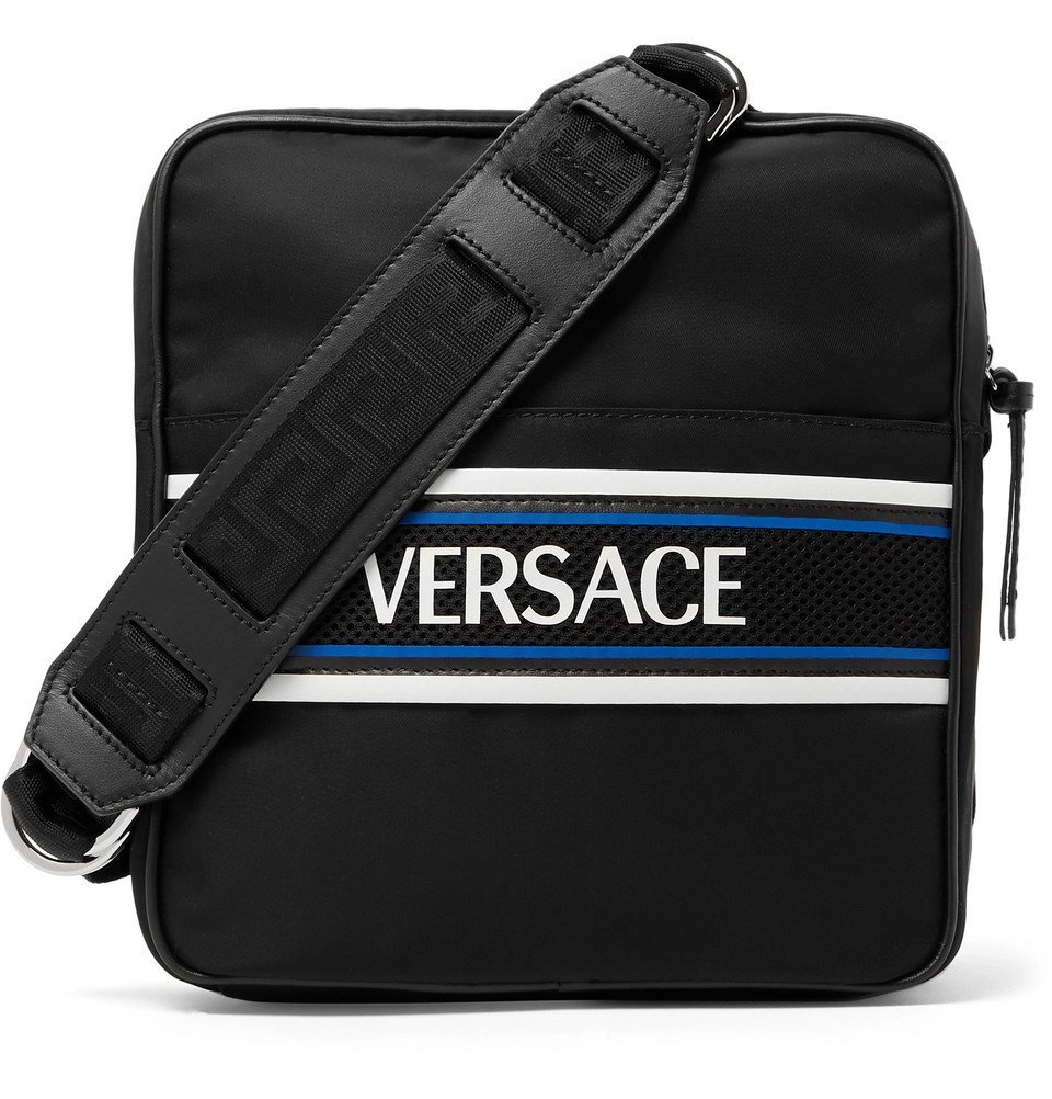 Photo: Versace - Leather and Mesh-Trimmed Logo-Print Shell Messenger Bag - Black