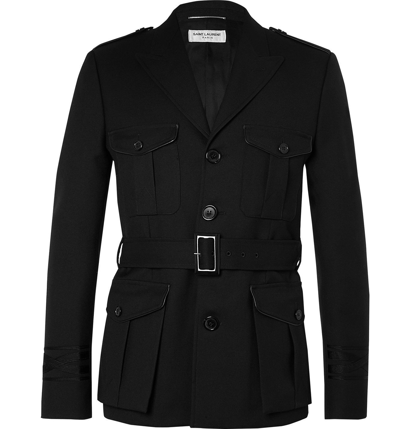 Photo: SAINT LAURENT - Belted Wool-Twill Trench Coat - Black