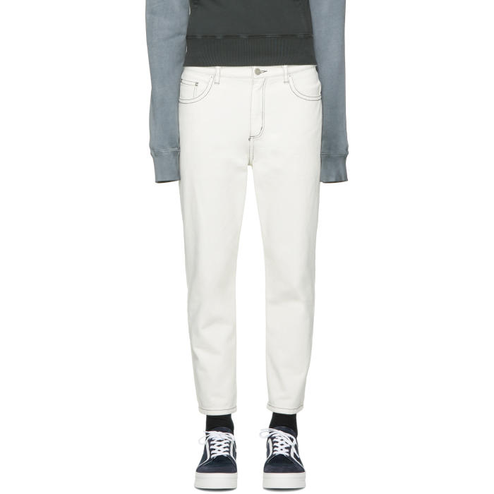 3.1 Phillip Lim White Tapered Cropped Jeans