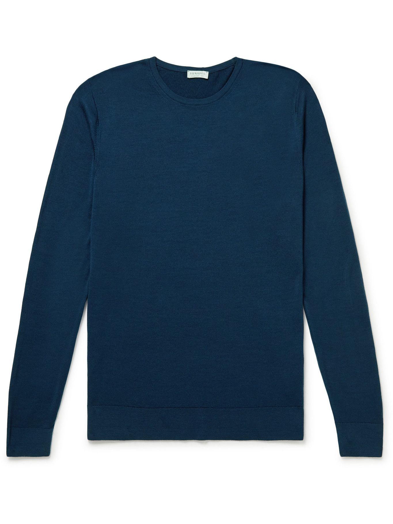 Photo: Sunspel - Slim-Fit Merino Wool Sweater - Blue