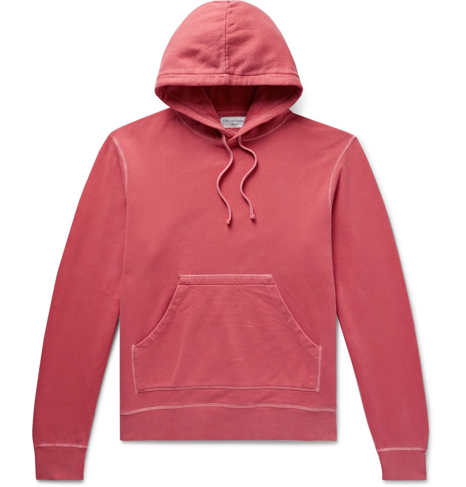Photo: Officine Generale - Olivier Garment-Dyed Loopback Cotton-Jersey Hoodie - Red