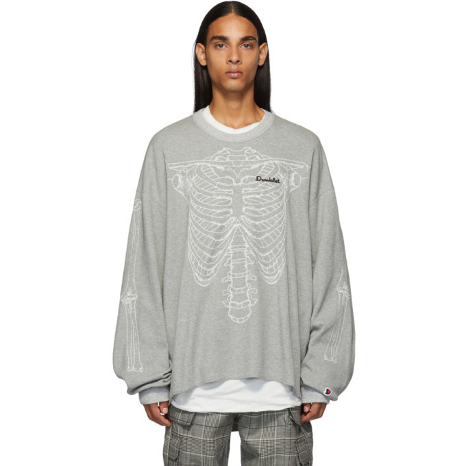 Photo: Doublet Grey Skeleton Embroidery Thermal T-Shirt