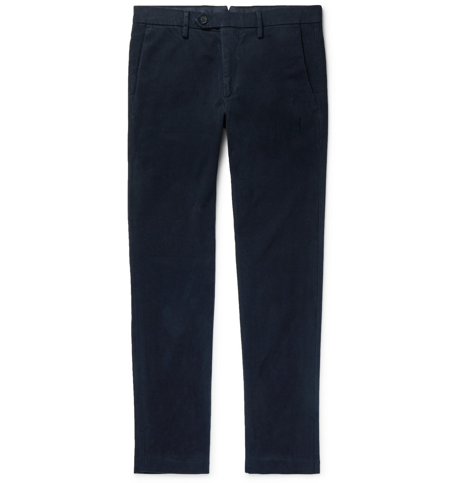 Photo: NN07 - Navy Theo Tapered Tencel-Blend Moleskin Chinos - Blue