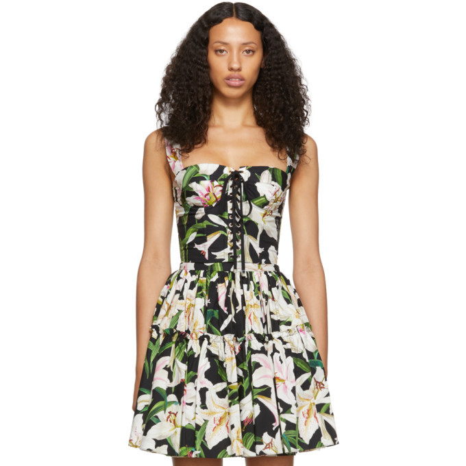 Photo: Dolce and Gabbana Black and Green Lilium Flowers Bustier Tank Top