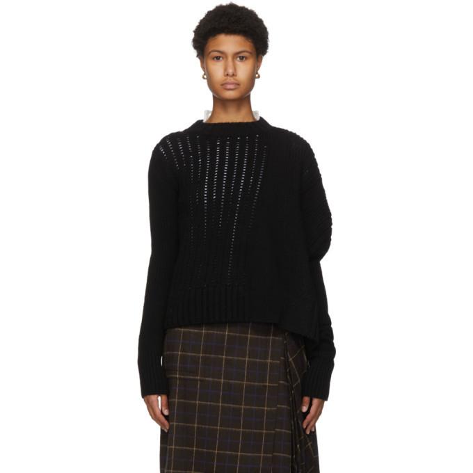 Sacai Black Asymmetrical Wool Sweater