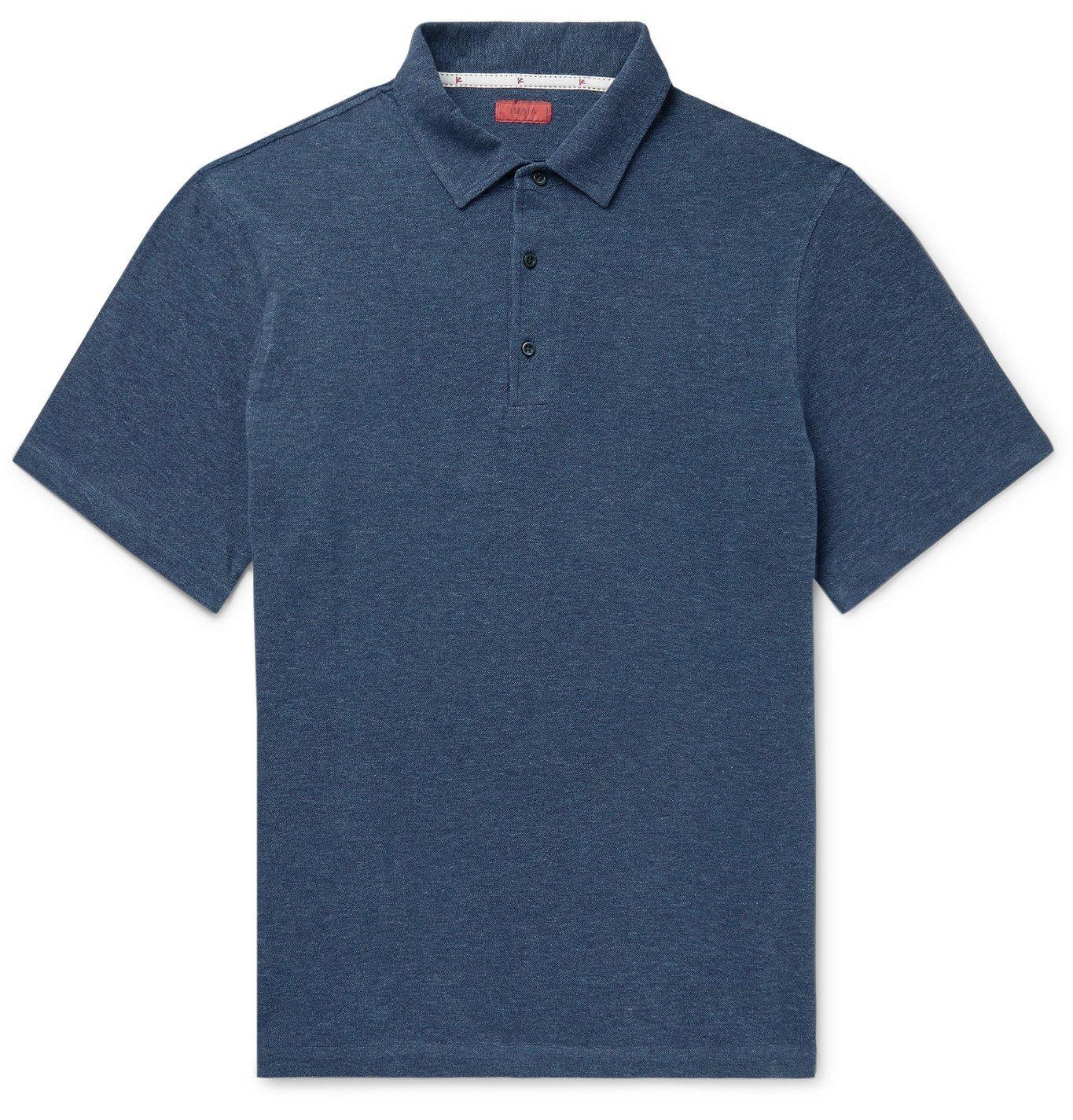 Photo: Isaia - Slim-Fit Mélange Cotton-Piqué Polo Shirt - Blue
