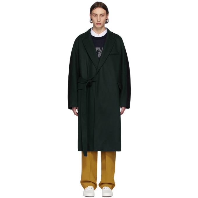 Photo: Maison Kitsune Green and Black Bifabric Wrap Coat